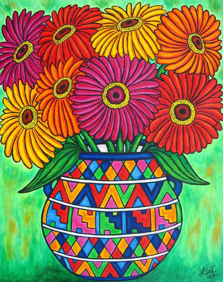 Zinnia Painting - Zinnia Fiesta by Lisa  Lorenz