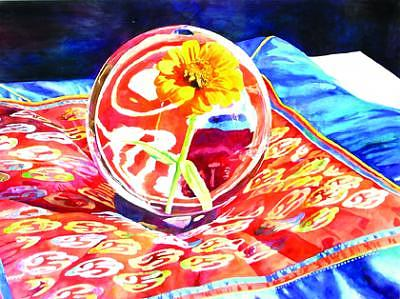 Realism Painting - Zinnia In Sphere by Doug E L Haynes