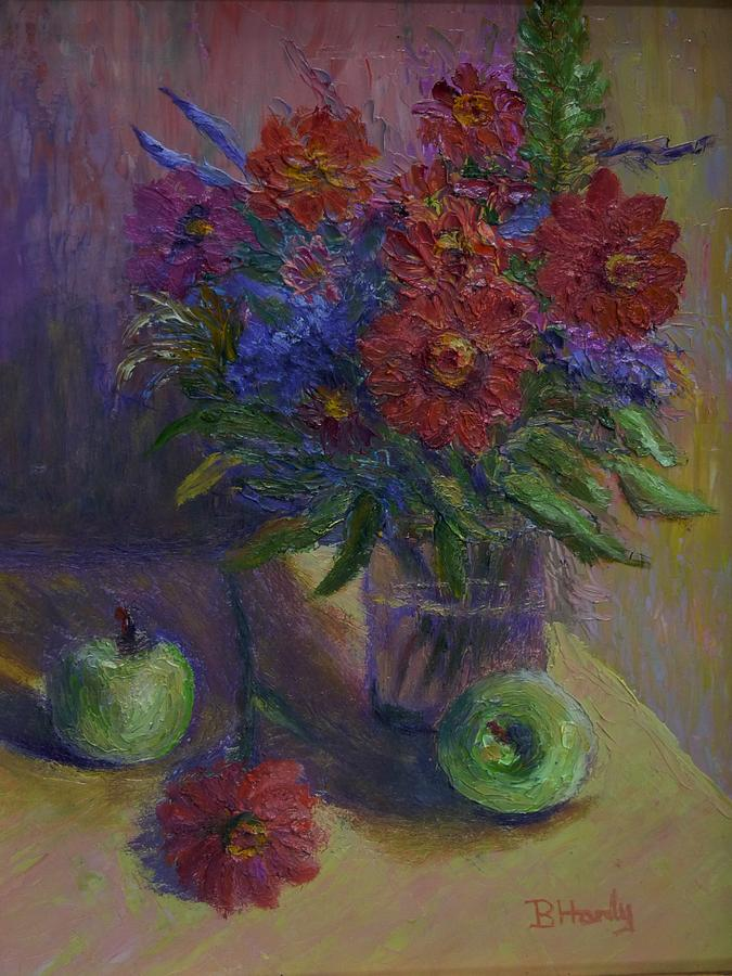 Still Life Painting - Zinnias And Apples by Bonnie Hanly