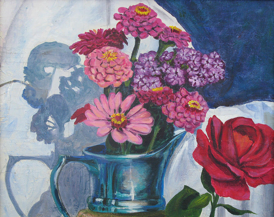Zinnias  Painting - Zinnias And Rose In The Eveing Light  by Judy Loper