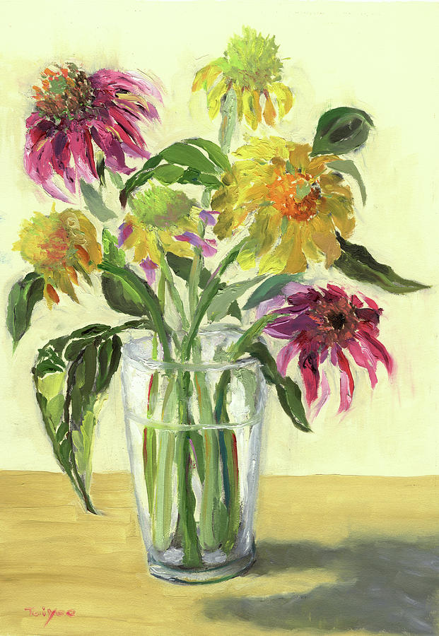 Flowers Painting - Zinnias In Vase by Tai Yee