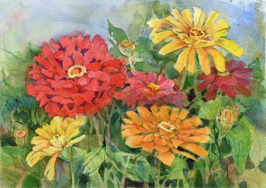Zinnias Painting - Zinnias by Garden Gate