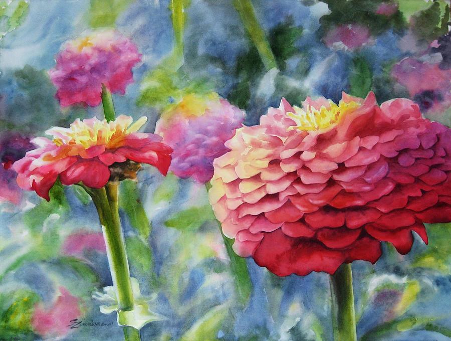 Zinnia Painting - Zinnias by Sue Zimmermann