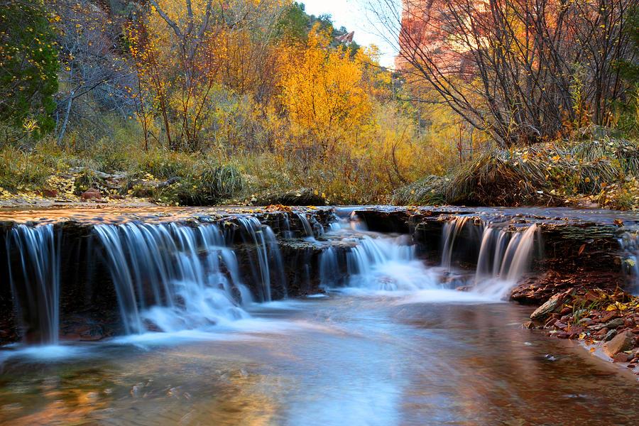 Zion Autumn Foliage Waterfall Photograph