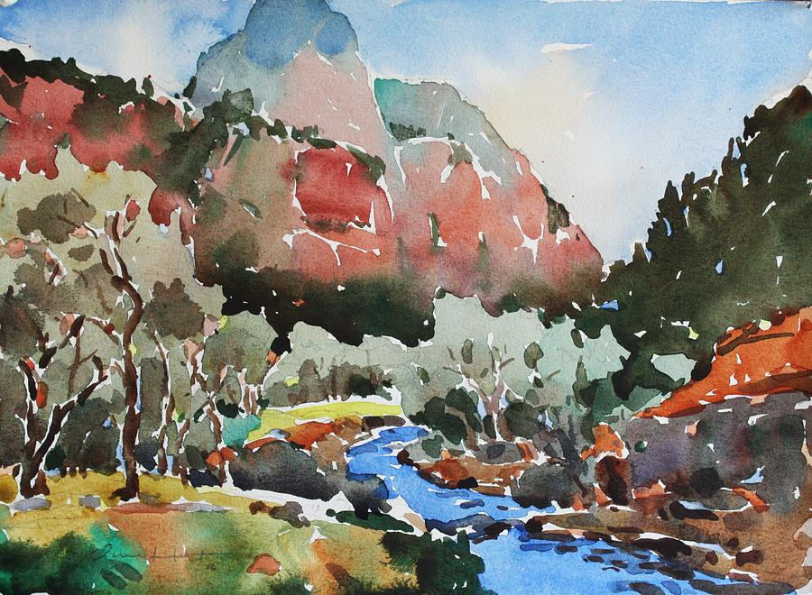 Zion National Park Painting - Zion Blue Stream by Owen Hunt