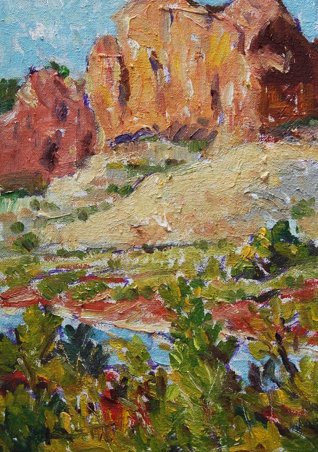 Western Landscape Painting - Zion Mountain Cliff by Owen Hunt