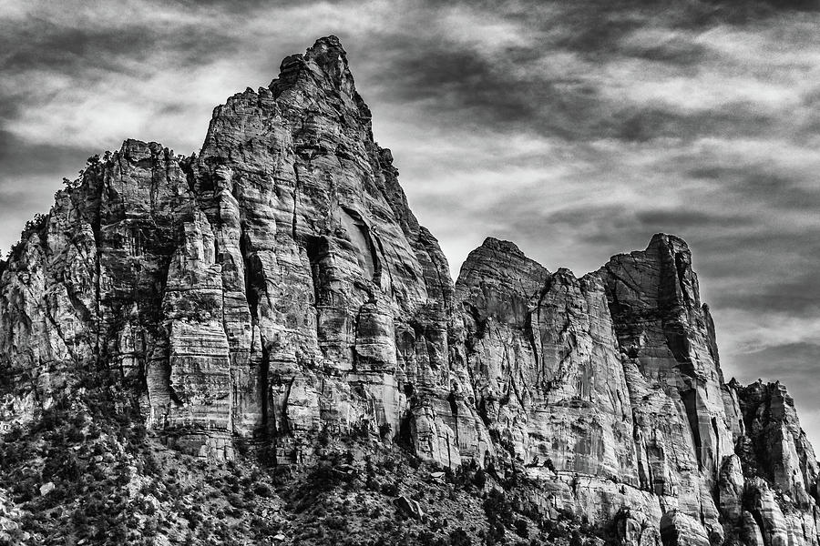 Landscape Photograph - Zion Mountains 2bw  by Don Risi