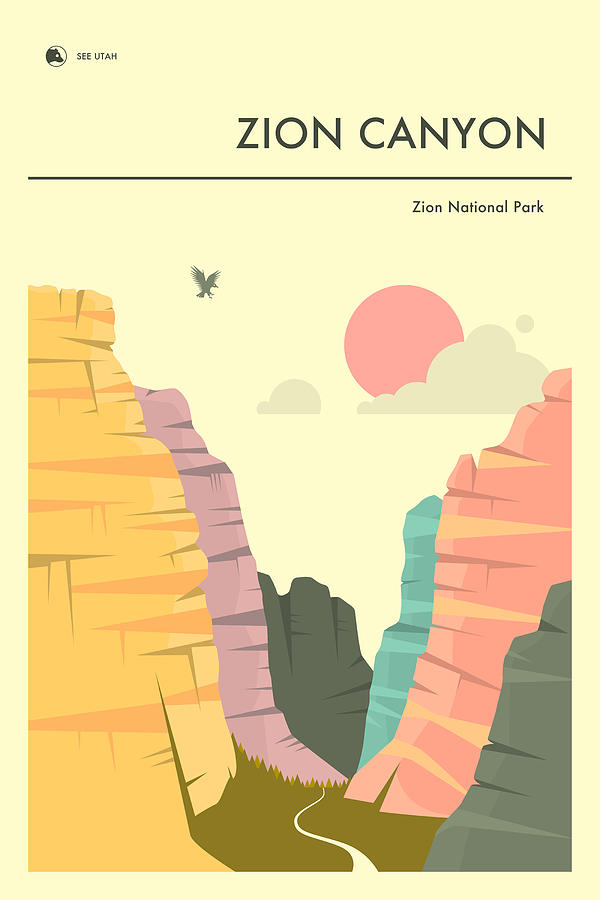 National Park Digital Art - Zion Canyon by Jazzberry Blue