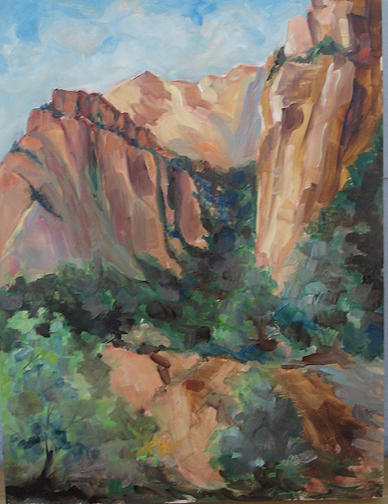 Cliffs Painting - Zion Plein Air Study by Joanne Massingale