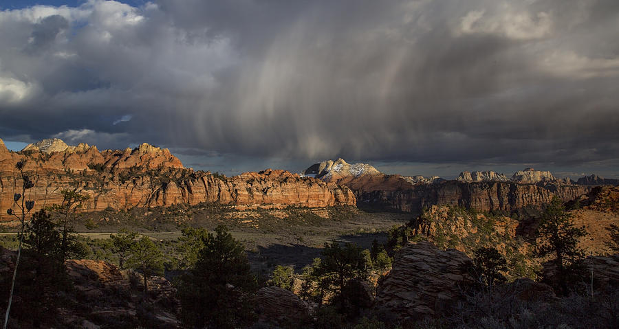 Sandstone Photograph - Zion Storm Clouds by Michael Just