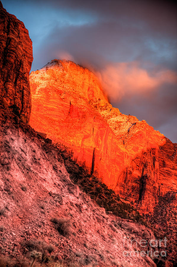 Hdr Photograph - Zions Fire II by Irene Abdou