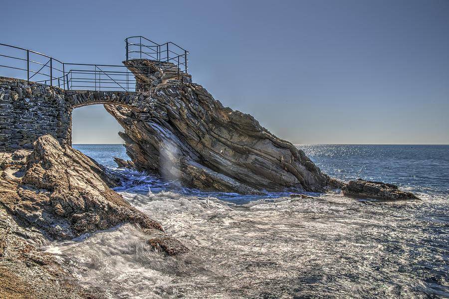 Zoagli Photograph - Zoagli Cliffs With Waves And Passage by Enrico Pelos