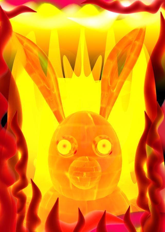 Zodiac Fire Rabbit Digital Art by By ValxArt