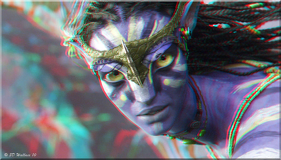 3d Photograph - Zoe Saldana - Neytiri - Use Red and Cyan 3D glasses by Brian Wallace