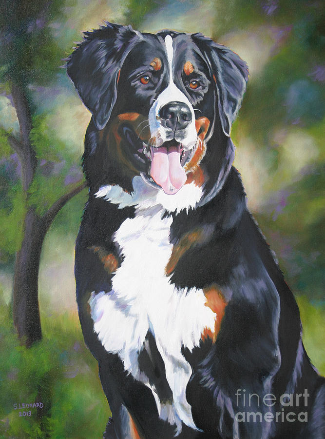 Bernese Mountain Dog Painting - Zoe by Suzanne Leonard