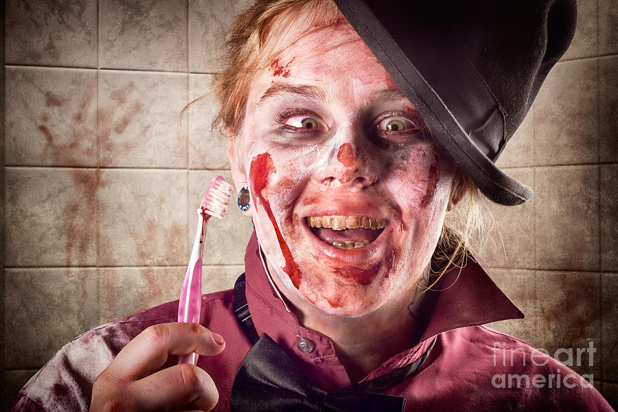 Dentist Photograph - Zombie At Dentist Holding Toothbrush. Tooth Decay by Jorgo Photography - Wall Art Gallery