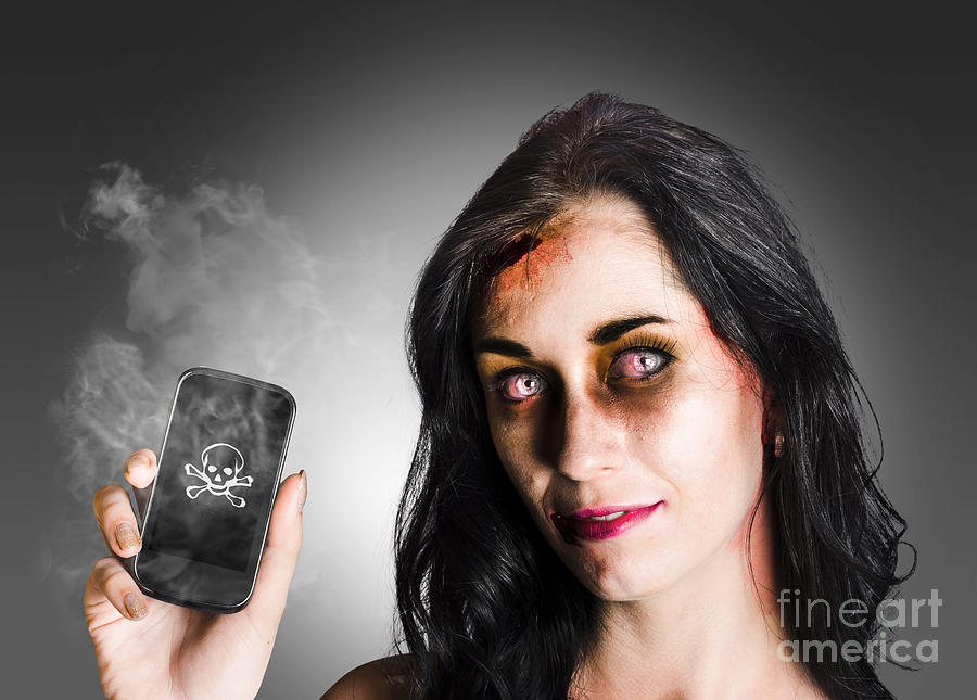 Apocalypse Photograph - Zombie Business Woman Holding Dead Technology by Jorgo Photography - Wall Art Gallery