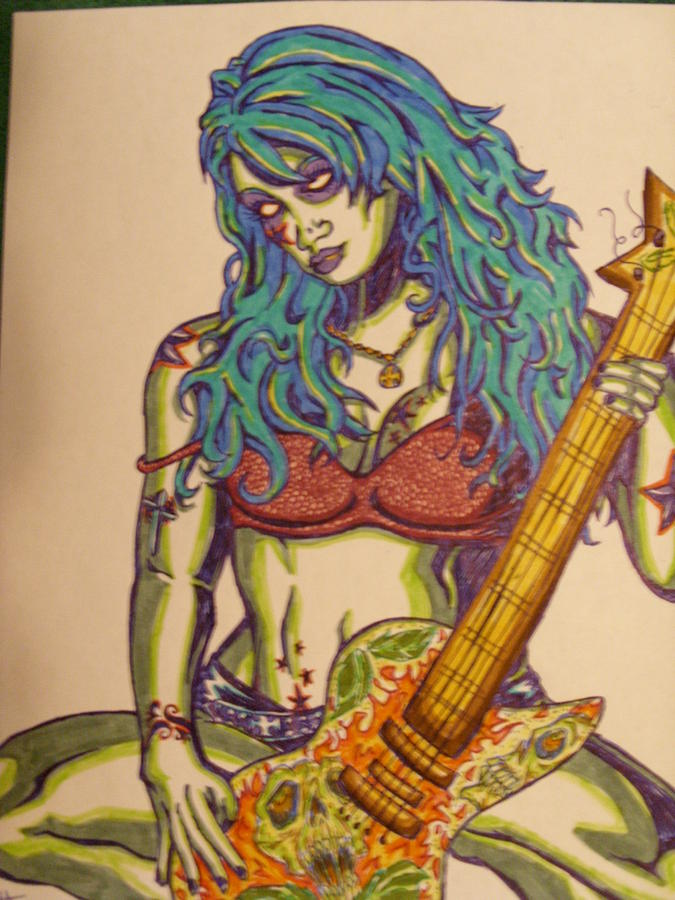 Zombie Drawing - Zombie Guitar by Michael Toth