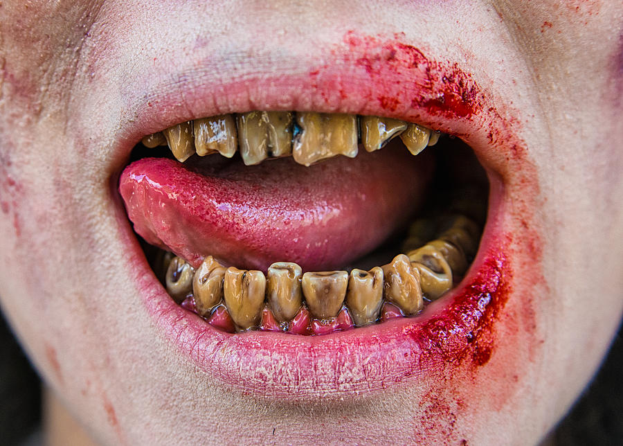 Zombie Mouth And Teeth Photograph By Matthias Hauser