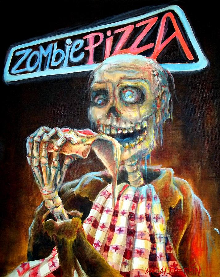 Zombie Painting - Zombie Pizza by Heather Calderon