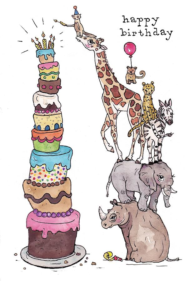 Zoo animals happy birthday card painting by katrina davis birthday painting zoo animals happy birthday card by katrina davis bookmarktalkfo Choice Image