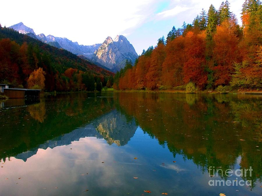Mountains Photograph - Zugspitz And Riessersee Garmish Germany by Randy Matthews