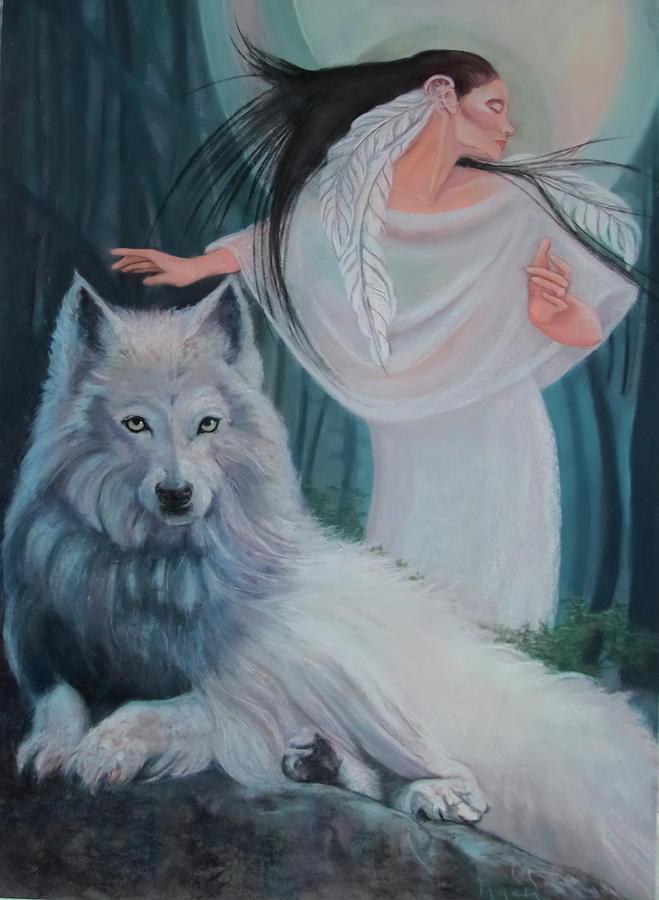 zuni maiden with her white wolf by Pamela Mccabe