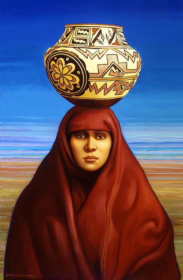 Pot Painting - Zuni Woman by Jane Whiting Chrzanoska