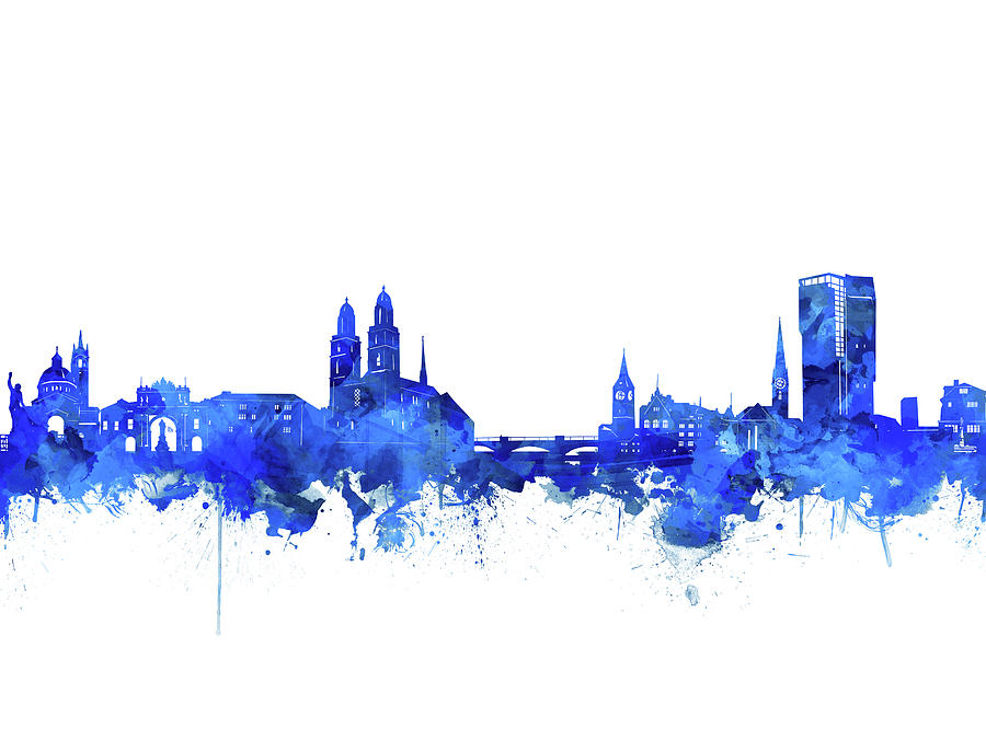 Zurich Skyline Watercolor Blue Digital Art