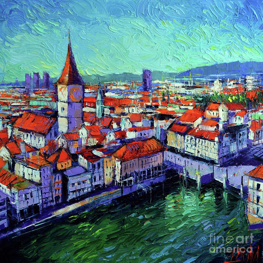 Zurich View Painting by Mona Edulesco
