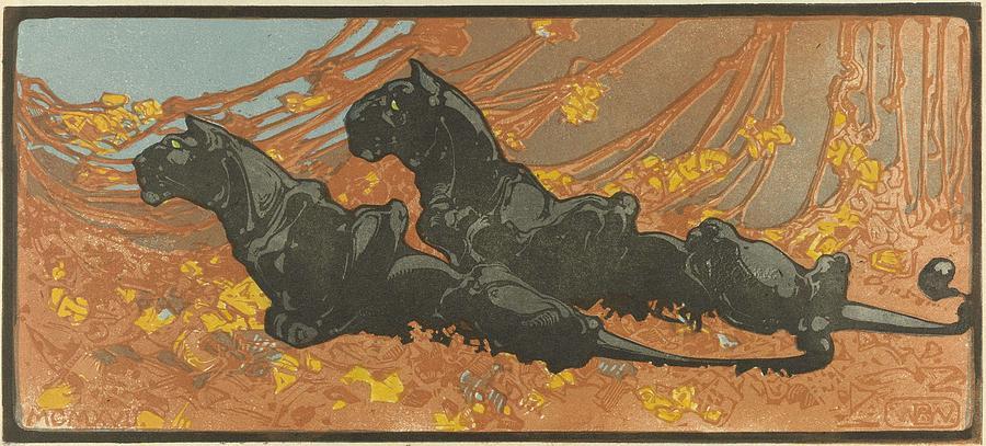Zwarte Panters Bernard Willem Wierink, 1866  1939 Painting