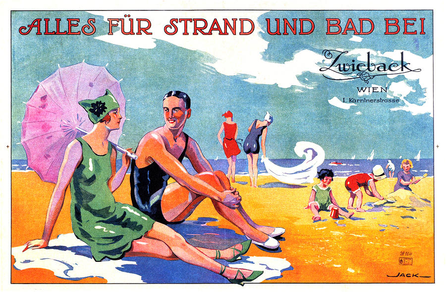 Zwieback, Vienna, Austria - Family At The Beach - Vintage Travel Advertising Poster Mixed Media