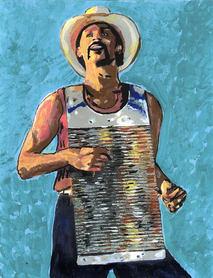 Cajun Painting - Zydeco Joe by Jerry Schwehm