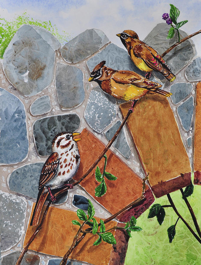 Animals Painting - 005 Song Sparrow And Cedar Waxwings by Charlsie Kelly
