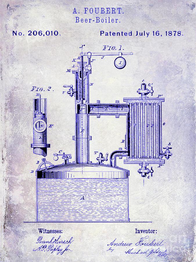 Beer Photograph - 1878 Beer Boiler Patent Blueprint by Jon Neidert