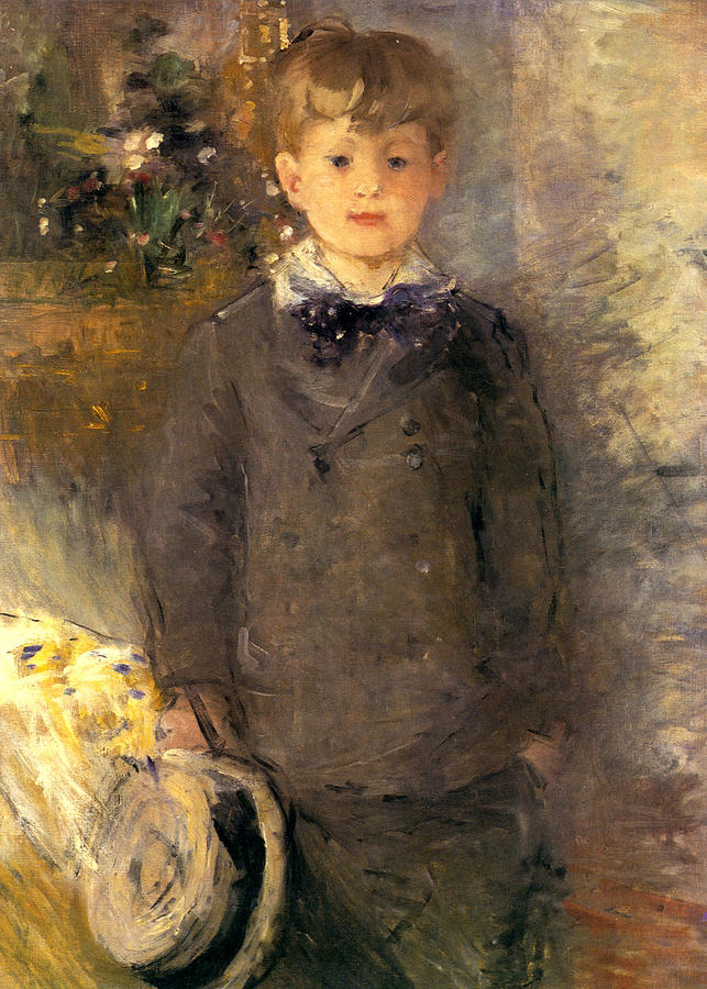 1880 Little boy in gray Painting by Berthe Morisot