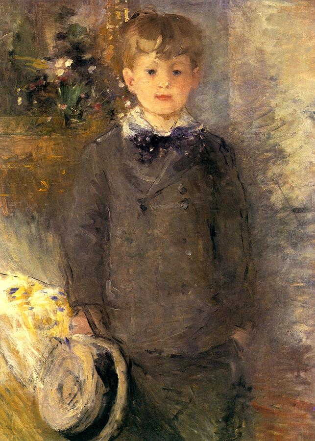 Берта Моризо 3. 1880 Little boy in gray Painting by Berthe Morisot