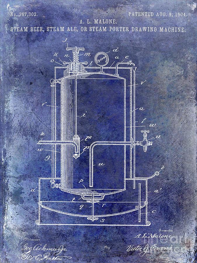 Beer Photograph - 1904 Beer Drawing Machine Patent  Blue 1 by Jon Neidert