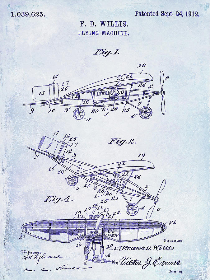 Patent Photograph - 1912 Flying Machine Patent Blueprint by Jon Neidert