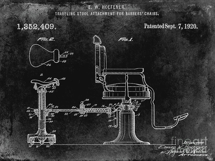 Drawing Photograph - 1920 Barber Chair Patent Black by Jon Neidert