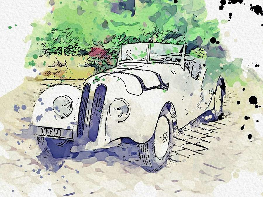 1937 BMW 328 Roadster 3 watercolor by Ahmet Asar by Ahmet Asar