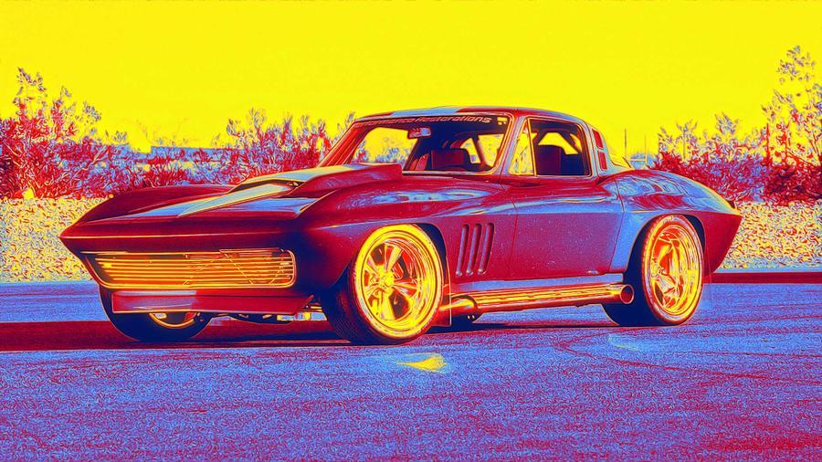 1965 Corvette Optima Ultimate Street Car Gradient Neon Coloring By Ahmet Asar, Asar Studios Painting