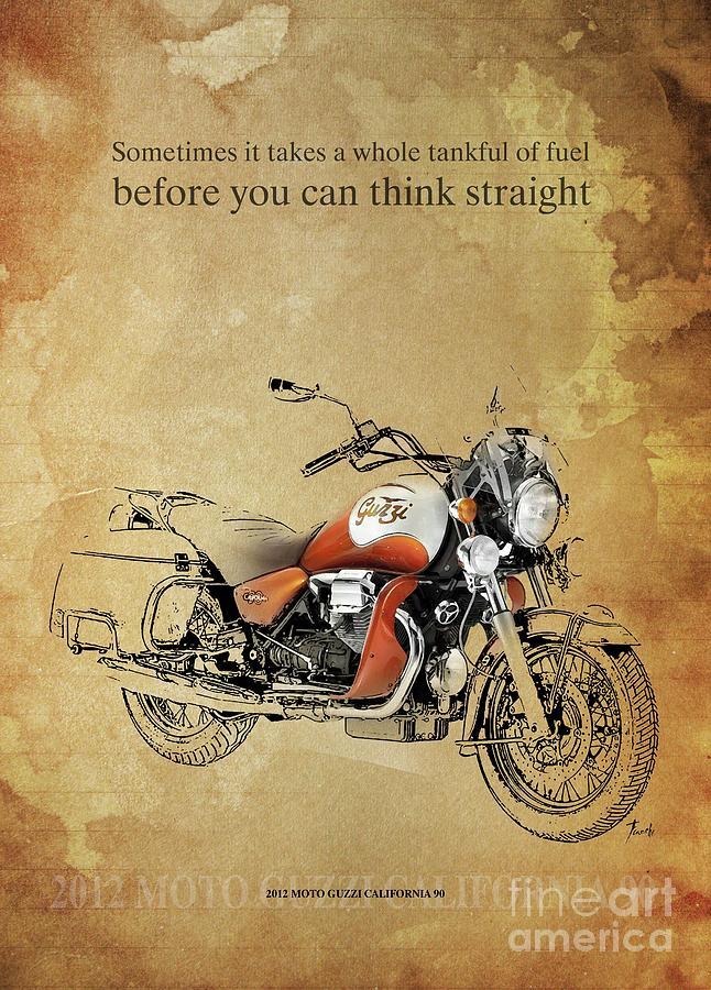 Vintage Drawing - 2012 Moto Guzzi California 90, Original Artwork. Motorcycle Quote by Drawspots Illustrations