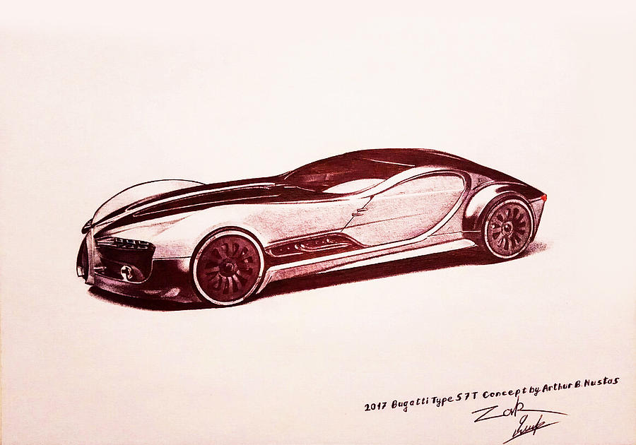 2017 Bugatti Type 57t Concept By Arthur B Nustas Drawing By Armeniadesign Carsketch
