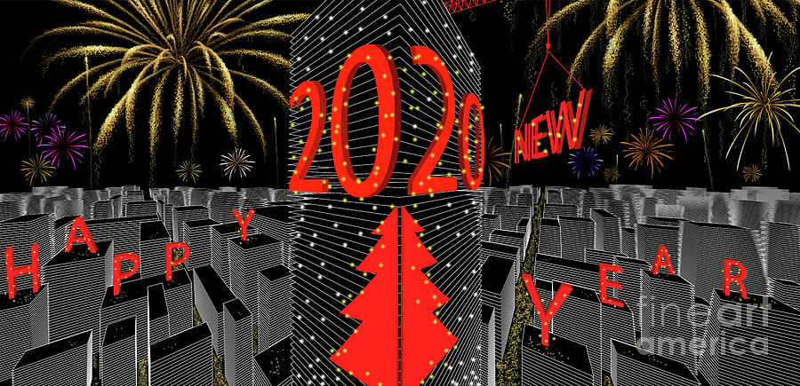 2020 Happy New Year on high building by ATIKETTA SANGASAENG