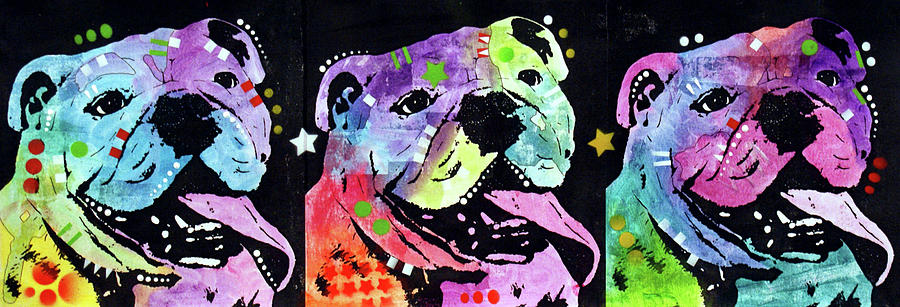 Domestic Dogs Mixed Media - 3 Bulldogs by Dean Russo