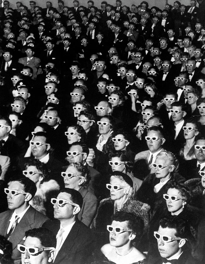 3-d Movie Viewers. Formally-attired Audi 1 Photograph by J. R. Eyerman