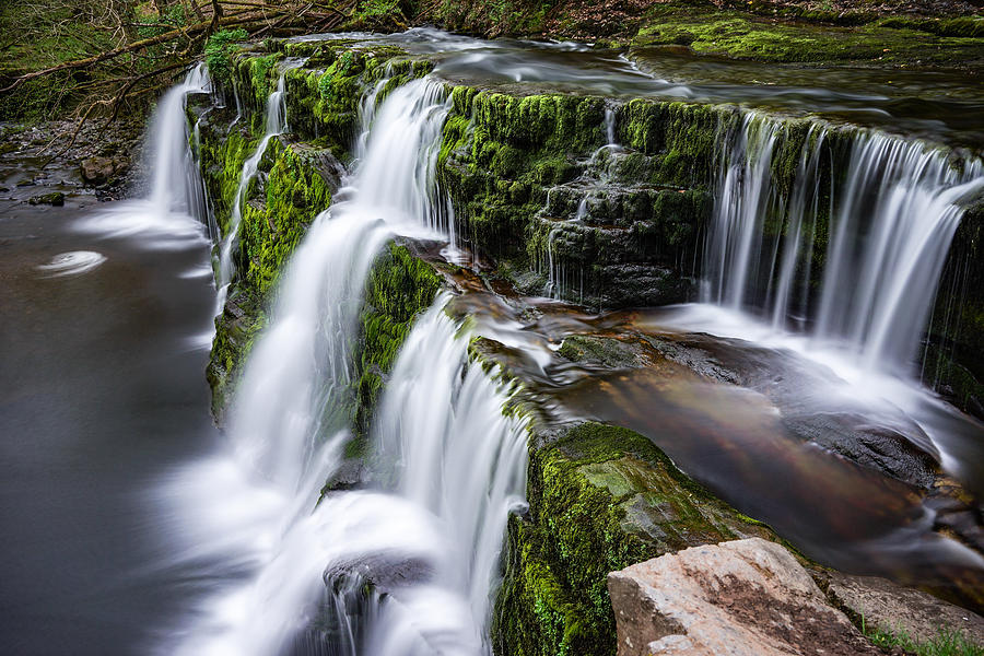A beautiful waterfall in Brecon beacons national park in Wales. Photograph  by George Afostovremea