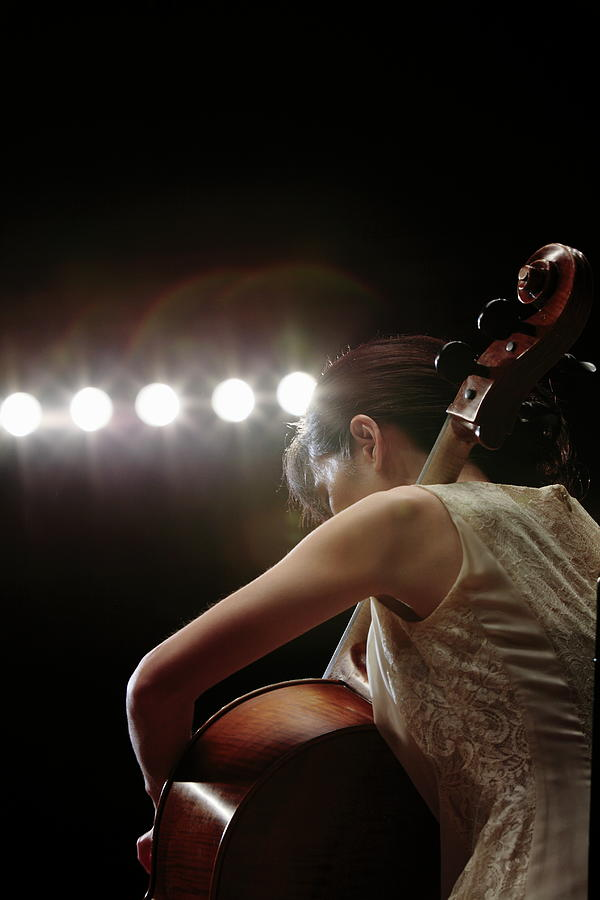 A Female Cellist Playing Cello On Photograph by Sot