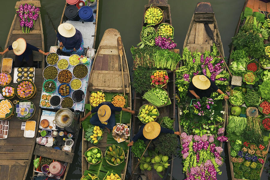 A Floating Market On A Canal In Photograph by Mint Images - Art Wolfe